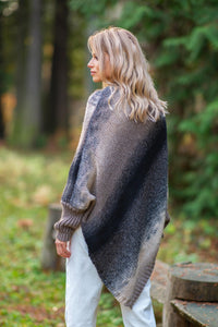 F592 High Neck Sweater-Style Poncho In Brown