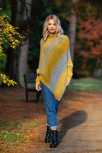 F592 High Neck Sweater-Style Poncho In Ceylon Yellow