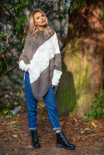 F598 High-Neck Sweater-Style Poncho In Brown-Ecru