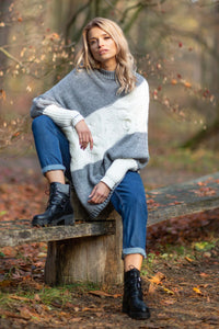 F598 Alpaca-Blend High-Neck Sleeve Poncho In Grey-Ecru