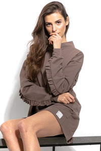 F933 Cotton Long Sweatshirt Tunic With Frill Detailing In Brown