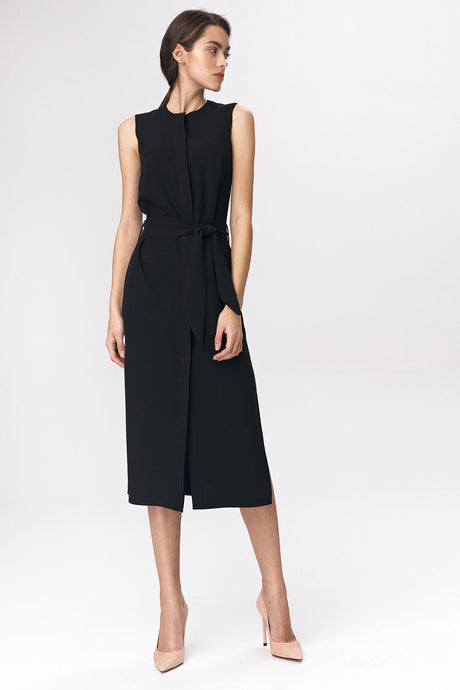 S133 Shirt Style Belted Midi Dress In Black