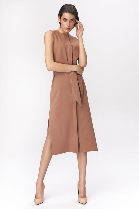 S133 Shirt Style Belted Midi Dress In Brown