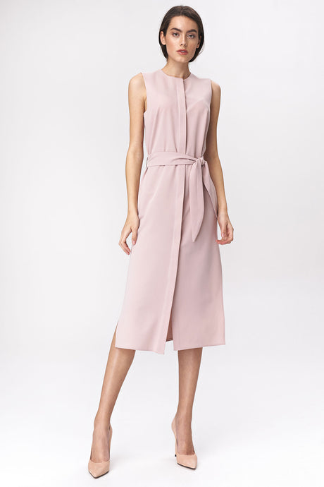 S133 Shirt Style Belted Midi Dress In Pink