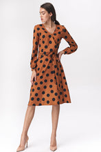 S136 Dots Belted Mini Dress In Brown