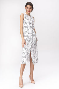 S138 Shirt Style Belted Midi Dress In Face Print