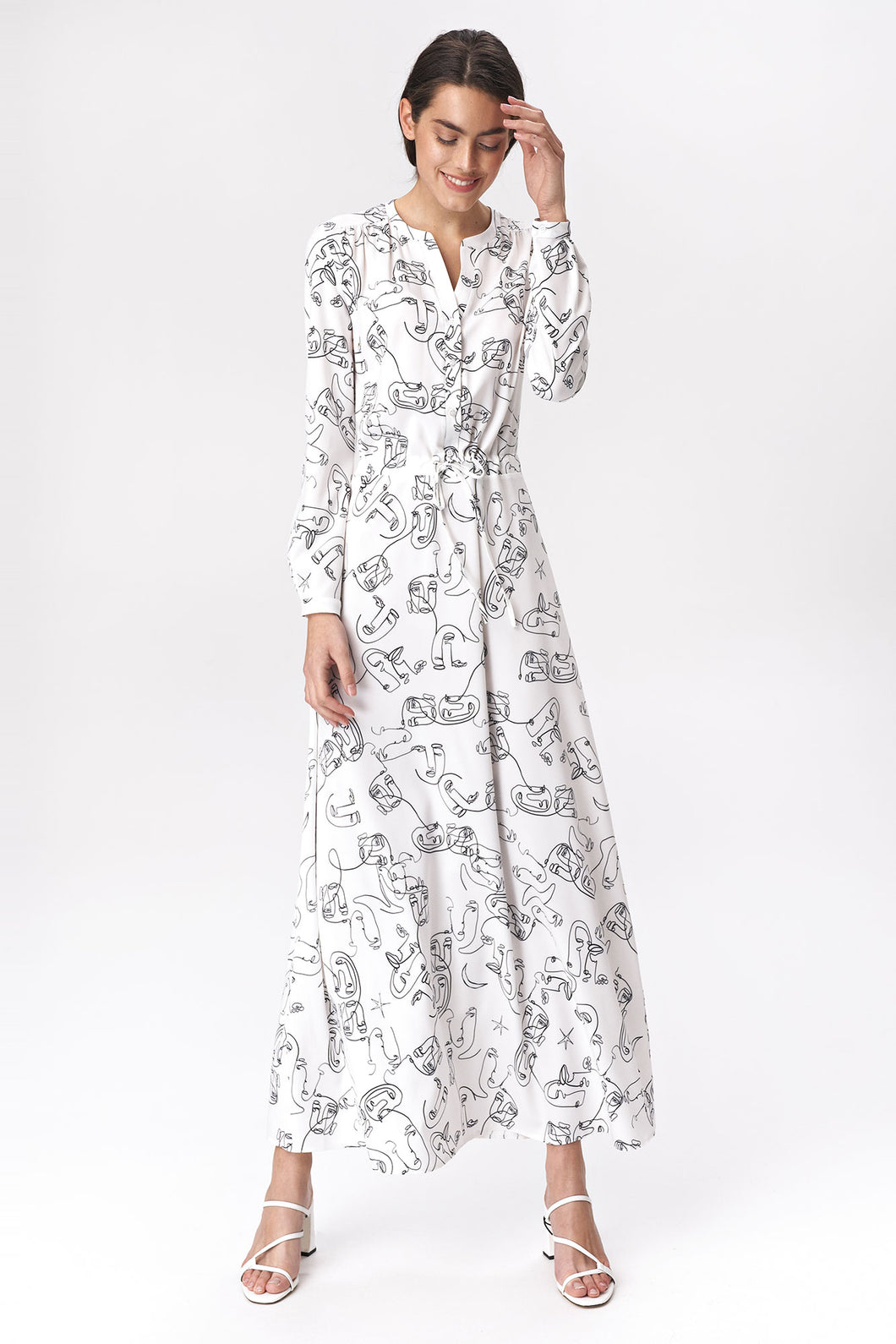 S140 Drawstring waist Shirt Maxi Dress In Face Print
