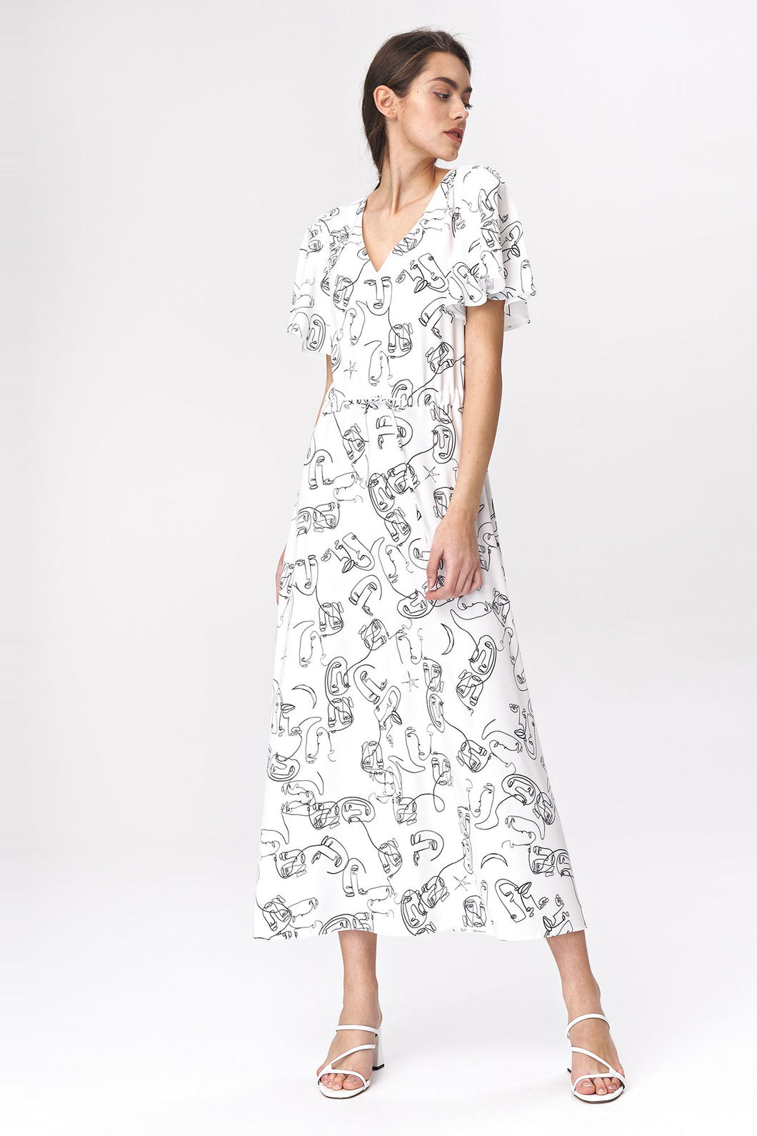 S141 Face Print Drawstring Waist Maxi Dress In Ecru