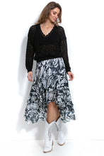 F999 Floral Asymmetric Midi Skirt In Black