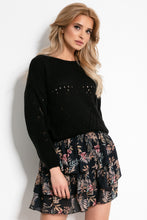 F903 Floral Ruffled Mini Skirt In Black