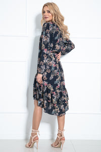 F1010 Asymmetrical Belted Dress In Black Floral Print