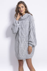 F844 Roll Neck Oversized Jumper Dress In Grey