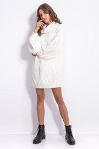 F844 Roll Neck Oversized Jumper Dress In Ecru