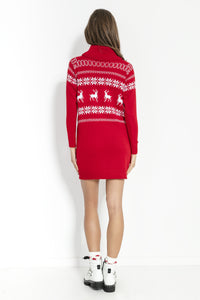 F853 Festive Pattern Roll-Neck Jumper Dress In Red