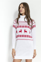 F853 Festive Pattern Roll-Neck Jumper Dress In White