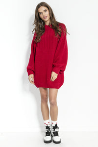 F854 High-Neck Mohair-Blend Jumper Dress In Red
