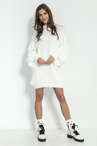 F854 High-Neck Mohair-Blend Jumper Dress In Ecru