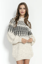 F856 Scandinavian Style Pattern Mohair-Blend Jumper Dress In Beige-Melange