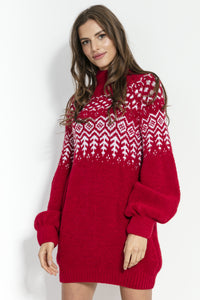 F856 Scandinavian Style Pattern Mohair-Blend Jumper Dress In Red