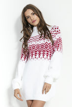F856 Scandinavian Style Pattern Mohair-Blend Jumper Dress In White-Red