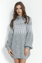 F856 Scandinavian Style Pattern Mohair-Blend Jumper Dress In Grey