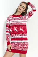 F857 Festive Pattern Jumper Dress In Red