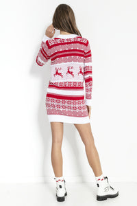 F857 Festive Pattern Jumper Dress In White