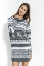 F857 Festive Pattern Jumper Dress In Grey