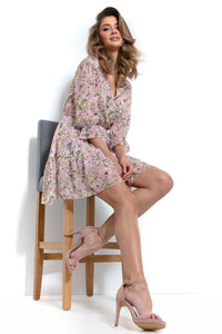 F996 Floral Wrap-Detailing Mini Dress In Pink