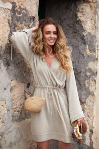 1295 Drawstring Waist Mini Dress In Beige