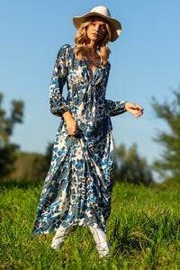 F1091 Floral Print Empire Maxi Dress In Blue