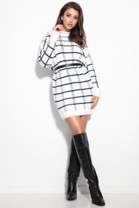 F1103 Checked Fluffy Knitted Jumper Mini Dress In White