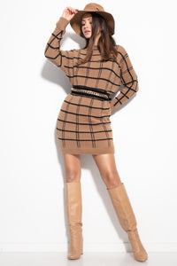 F1103 Checked Fluffy Knitted Jumper Mini Dress In Carmel