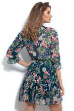 F993 Floral Wrap-Detailing Mini Dress In Green