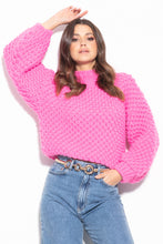 F1035 Oversized Chunky Knit Sweater In Pink