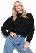F1035 Oversized Chunky Knit Sweater In Black