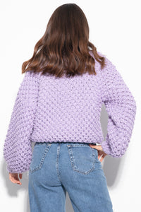 F1135 Oversized Chunky Knit Alpaca-Blend Jumper In Purple