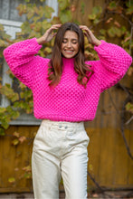 F1135 Oversized Chunky Knit Alpaca-Blend Jumper In Pink