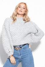 F1035 Oversized Chunky Knit Sweater In Grey