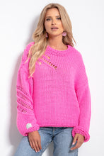 F1054 Oversized Chunky Knit Jumper In Pink