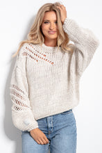 F1054 Oversized Chunky Knit Jumper In Beige Melange