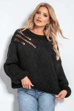 F1054 Oversized Chunky Knit Jumper In Black