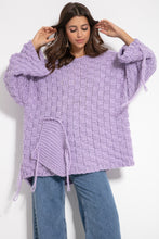 F1075 Chunky Knit Wide Oversized Sweater In Purple