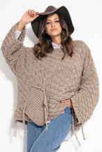 F1075 Chunky Knit Wide Oversized  Sweater In Brown