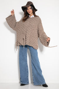 F1075 Chunky Knit Wide Oversized Alpaca-Blend Sweater In Brown