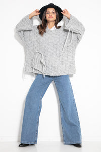 F1075 Chunky Knit Wide Oversized Sweater In Grey