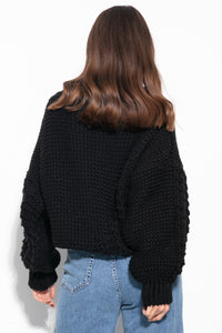 F1125 Oversized Chunky Knit Alpaca-Blend Sweater In Black