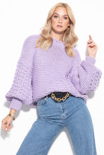 F1125 Oversized Chunky Knit Sweater In Purple