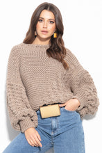 F1125 Oversized Chunky Knit Sweater In Brown