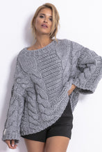 F780 Chunky Knit Jumper In Gray